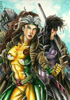 Rogue and Gambit Artist Trading Card Commission by DKuang