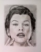 Pencil portrait of Milla Jovovich by chaseroflight