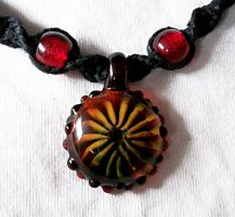 Gold and Red Boro Pendant by Psy-Sub