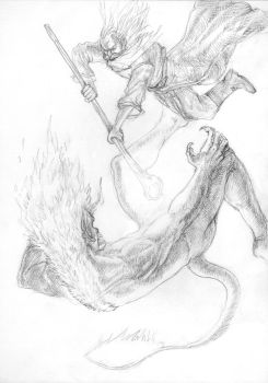 Gandalf and Balrog by zobly