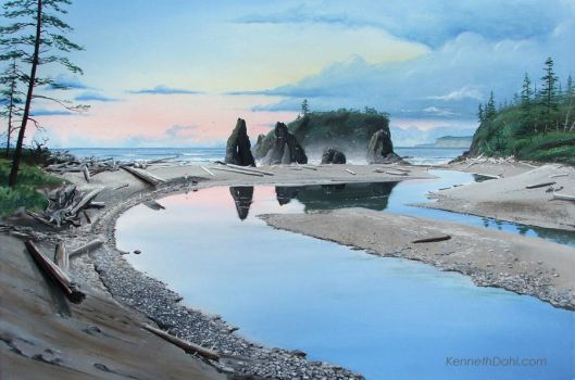 Ruby Beach Reflections After S by kennethdahlart