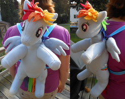 Wearing my Rainbow Dash Backpack by FuzzyAliens