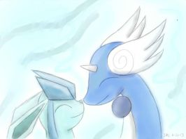 Glaceon and Dragonair Lineart Colored by Kitsuneintheblizzard