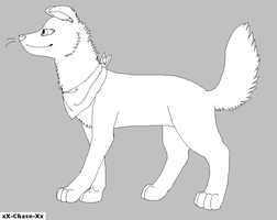 Wolf Dog with a bandanna Lineart by xX-Chase-Xx