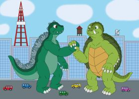 Godzilla and Gamera become friends by MCsaurus