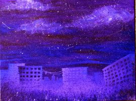 Splashes of Violet in a City of Blues by LittleWheat