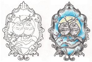 Freebies Owls Cameo Tattoo Design by TattooSavage