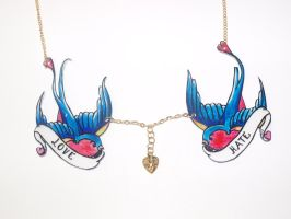 Love Hate Swallows Necklace by ponychops