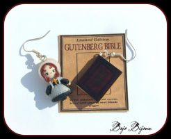 Amish Girl and Bible Earrings by Bojo-Bijoux