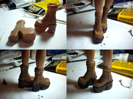 Custom Painted Brown Boots by midori-no-ink
