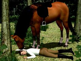 Lady fell from her horse by LordOfTheCarry