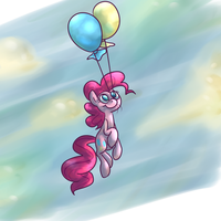 Pinkie with balloons by PonyGoggles