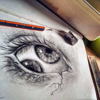 Double eye drawing by Cleicha