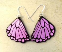 Butterfly Wing Earrings Rear Wing Fused Glass Pink by FusedElegance