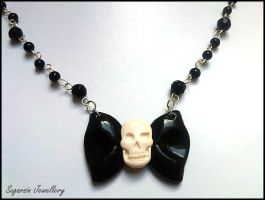 Skully Bow Peep Necklace by SugarsinJewellery