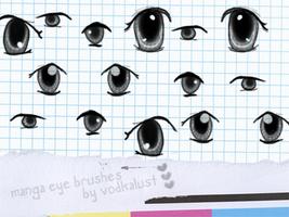 assorted manga eye brushes by vodkalust