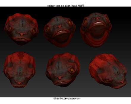 colour test on alien head WIP by Dhavid-a