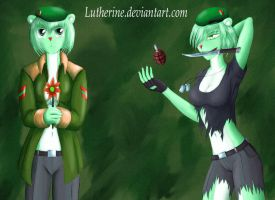 Female Flippy - good and evil by Lutherine