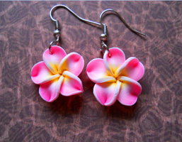 Pink Hibiscus Earrings by LypticDesigns