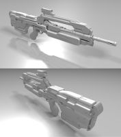 High-Res Halo 4 Battle Rifle Clay Render by borysked
