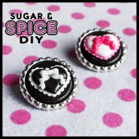 Lolita Hearts BOTTLE CAP CANDY Pin Badge Set by SugarAndSpiceDIY