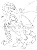 Indian dragoness - lineart by SilveryLugia