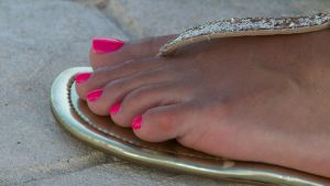 Connie's Pink Toes Close Up by Feetatjoes