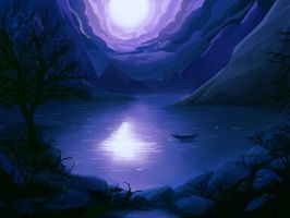 Lake under the moon by mrainbowwj