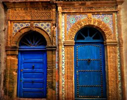 Side by Side Blue Doors in Morocco by SHParsons