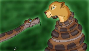 Kaa and Nala painted by lol20