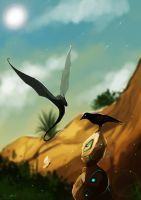 The crow, dragon and butterfly by Brissinge