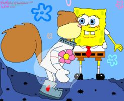 Sandy kissing SpongeBob by iedasb