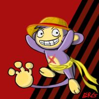 Monkey D. Luffy as an Aipom by EmajiMewp