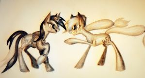 Background ponies fight by Cahandariella