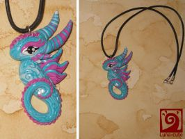 Turquoise pink  dragon necklace by Luna-cuteXD