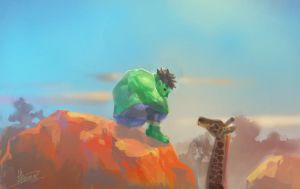 DOODLE-Vagrant HULK in Africa by agathexu