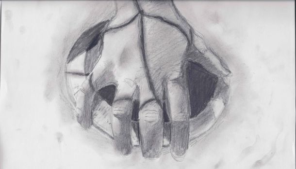 pencil drawing, hand and discus by stickfigureaddict