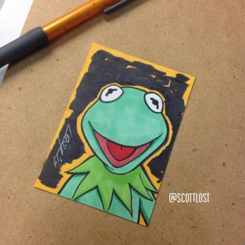 Kermit the frog sketchcard by Scott-Lost