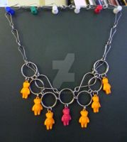 Neon Bear Chainmail Steampunk Necklace by LyraAlluse