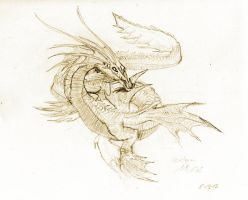 Sea Dragon Sketch by awesomedarkdragon