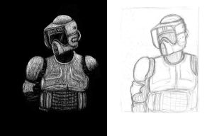 Scout Trooper scratchboard study and sketch by Nala15
