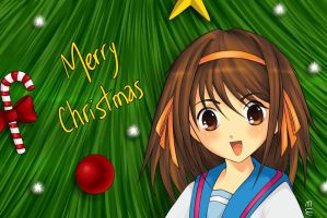 Haruhi wishes Merry Christmas by Starke-Haz