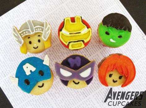The Avengers Character Cupcakes by StrawberryStory
