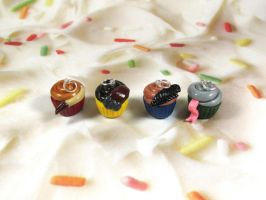 Charms: Harry Potter House Cupcakes by okapirose