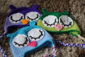 3 Owl Hats by RaindropMelody