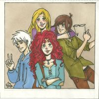 Tangled, HTTYD, Brave, ROTG highschool AU by LilyScribbles