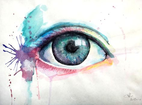 Watercolour Eye by VeryHapppyPanda
