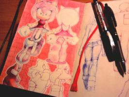 Amy Rose sketches by arina-ivanova-1999