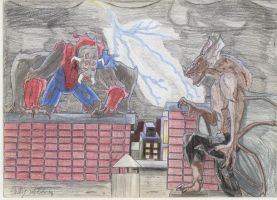 Man-spider VS Man-bat by Armorwing