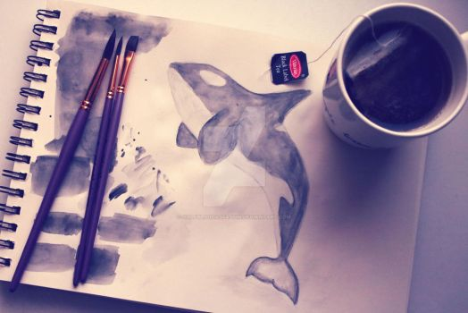 Orca painting by HalfBloodAssassin